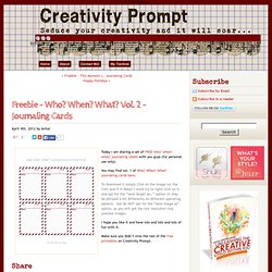 Freebie – Who? When? What? Vol. 2 – Journaling Cards | Creativity Prompt