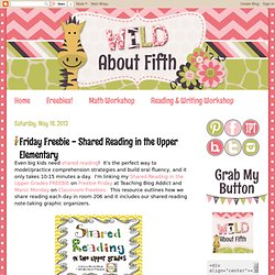Friday Freebie - Shared Reading in the Upper Elementary