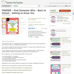 FREEBIE - Find Someone Who - Back to School -... by Love Learn Teach
