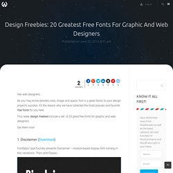 Design Freebies: 20 Greatest Free Fonts For Graphic And Web Designers