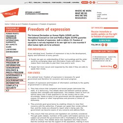 Freedom of expression · What we do · Article 19
