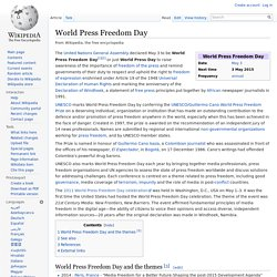 World Press Freedom Day - Every year, May 3rd -
