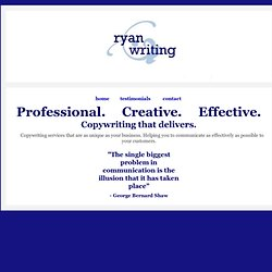 Freelance copywriting Ryan Writing San Francisco Bay Area, CA