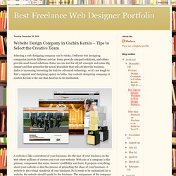 Best Freelance Web Designer Portfolio: Website Design Company in Cochin Kerala – Tips to Select the Creative Team