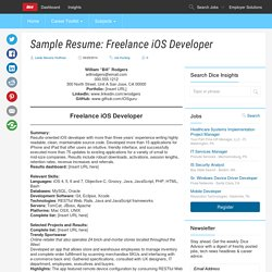 Sample Resume: Freelance iOS Developer - Dice Insights