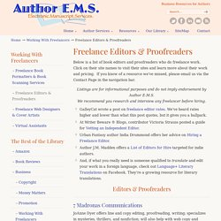Freelance Editors & Proofreaders – Author EMS