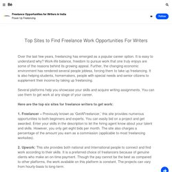 Freelance Opportunities for Writers in India on Behance