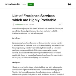 List of Freelance Services which are Highly Profitable