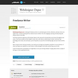 Freelance Writer at Webdesigner Depot ~ Authentic Jobs