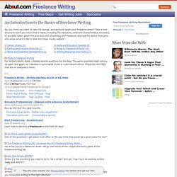 Freelance Writing, An Introduction to Getting Started in Freelance Writing