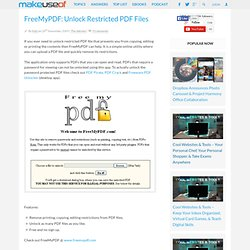 FreeMyPDF: Unlock Restricted PDF Files