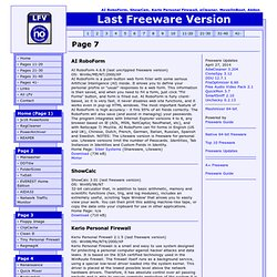 Last Freeware version: AI RoboForm, ShowCalc, Kerio Personal Firewall, eCleaner, MoveOnBoot