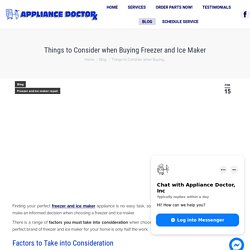 Freezer and Ice Maker Buyer Guide