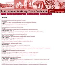 INTERNATIONAL MARKETING TRENDS CONFERENCE (Paris) 23-24 janvier 0215 Synthèses en ligne: Au sommaire notamment: La gastronomie française à l'épreuve de la souffrance animale La gastronomie française impactée par l'éthique animale