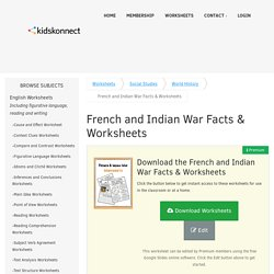 French & Indian War Facts & Worksheets For Kids - Seven Years War