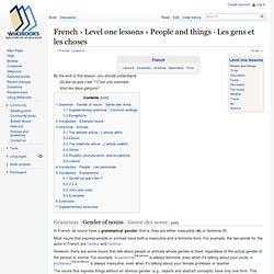 French › Level one lessons › People and things · Les gens et les choses