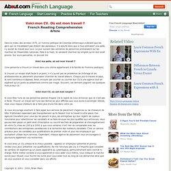 Voici mon CV - French Reading Comprehension