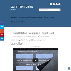 French Relative Pronouns II Lequel, Dont