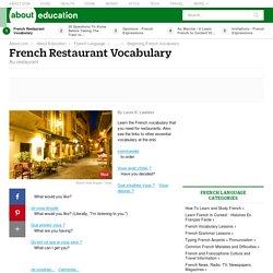 French Restaurant Vocabulary - Au restaurant