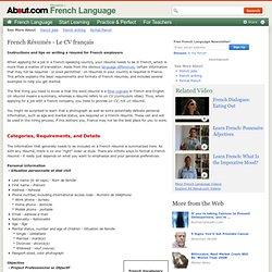 French Résumé - Le CV français - Writing a French Résumé