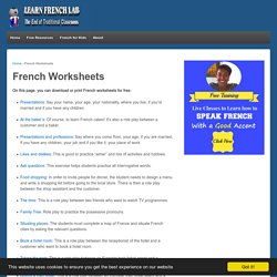 French Worksheets - Learn French Lab