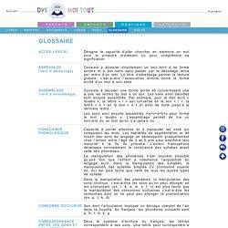 Glossaire et dyslexie, défintion de sigles et termes fréquement rencontrés