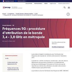 Fréquences 5G : procédure d'attribution de la bande 3,4 - 3,8 GHz en métropole