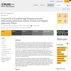 Frequencies of Inaudible High-Frequency Sounds Differentially Affect Brain Activity: Positive and Negative Hypersonic Effects