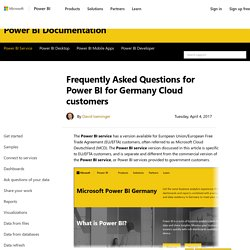 Frequently Asked Questions for Power BI for Germany Cloud customers