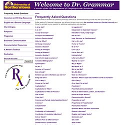 Dr. Grammar's Frequently Asked Questions Page