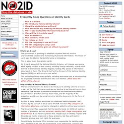 Frequently Asked Questions on Identity Cards » NO2ID