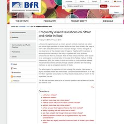 BFR 11/06/13 Frequently Asked Questions on nitrate and nitrite in food