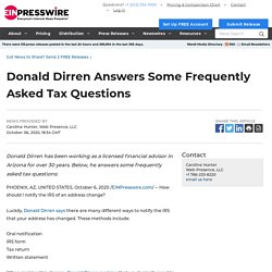 Donald Dirren Answers Some Frequently Asked Tax Questions - EIN Presswire