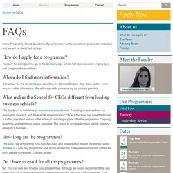 Frequently-Asked Questions - School for CEOs