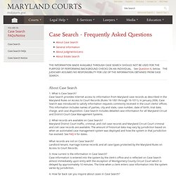 Frequently Asked Questions about Searching Court Records