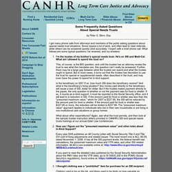 Some Frequently Asked Questions About Special Needs Trusts - CANHR