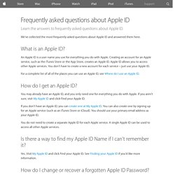 Frequently asked questions about Apple ID - Apple Support