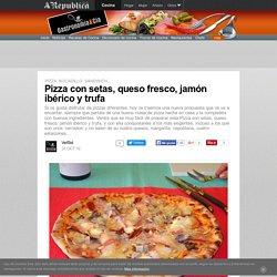 Pizza con setas, queso fresco, jamón ibérico y trufa