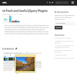 10 Fresh and Useful jQuery Plugins | Tools