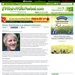 FRESH FRUIT PORTAL 12/09/12 Opinion: Biofortification is an obstacle to food justice