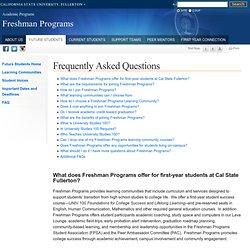 Freshman Programs - FAQ