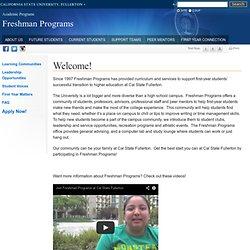 Freshman Programs - setup