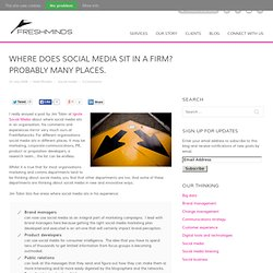 Where does social media sit in a firm? Probably many places.