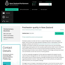Freshwater quality in New Zealand - New Zealand Parliament