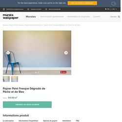 Papier Peint Fresque Dégradé de Pêche et de Bleu - Murals Wallpaper