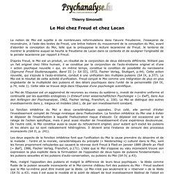 Le Moi chez Freud et chez Lacan [Thierry Simonelli]