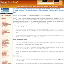 Friendly Bathroom Renovations Sydney with These Tips