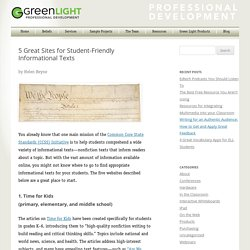 5 Great Sites for Student-Friendly Informational Texts - Green Light Learning Tools