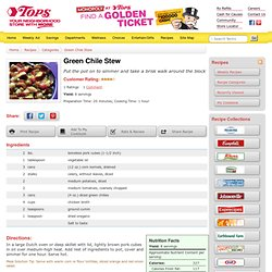 Tops Friendly Markets - Recipe: Green Chile Stew