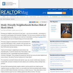 Study: Friendly Neighborhoods Reduce Risk of Heart Attack